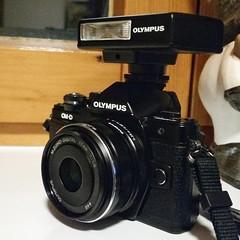 Shot with Samsung S5 (nicepicsnapper) Tags: olympus omd em 10 mk 2 ii flash flashlight fl14 black camera porn 17mm 18