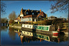 Boathouse, and Country Dreams. (Jason 87030) Tags: narrowboat boatman boathouse guc grandunioncanal water reflection december 2016 sunny light bluesky boar canal canalside towpath inn restaurant marstons sony alpha a6000 nex ilce tag flickr northants northamptonshire view scene meal carvery trees bare wet waterways