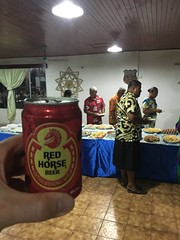 Red horse beer is a strong beer with 7% imported by Andrew Ponton wich i met in Kiribati. In the background a fiest for some business.