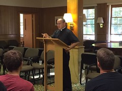 Msgr. Edward Lohse gives a presentation to seminarians at their annual retreat - September 2016