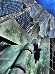 texture and surface (@ThetaState) Tags: blue sky urban sculpture toronto ontario canada reflection building architecture bronze may universityavenue 2014 digitalcameraclub sunlifecenter visipix