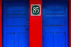 85 red walls and two blue doors (Robert Lang Photography) Tags: life old blue red two southwest color colour home sign doors entrance australia business wa walls colourful 85 westernaustralia address handles robertlang manjimup robertlangportlincoln robertlangphotography wwwrobertlangcomau