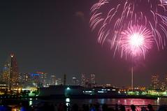 Yokohama Kaikousai Fireworks (kana_hata) Tags: pink light festival japan night tokyo bay yokohama kanagawa minatomirai