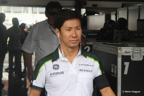 Kamui Kobayashi returns from the drivers' parade at the 2014 German Grand Prix