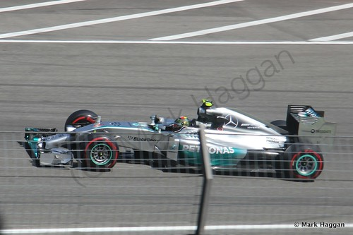 Nico Rosberg in his Mercedes during Free Practice 2 at the 2014 German Grand Prix
