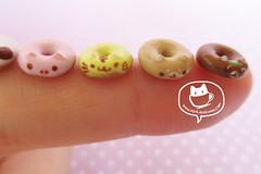 Animal-themed donuts (asuka sakumo) Tags: blue animal penguin pig cow miniature tiger seal donut tanuki whale shiba racoon inu scale112 miniaturefood scale13 miniatureclay scale14 asukasakumo