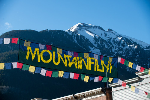 Mountainfilm banner & Ballard peak