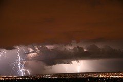 Lightning from 8-5-14 over Albuquerque NM (CaptDanger) Tags: clouds canon cityscape citylights lightning stormysky lightningbolt stormclouds thunderstorms lightningbolts thunderandlightning cityofalbuquerque lightningstorms brightlightning stormsinnewmexico