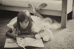 Once in a fairy tale (yulia.starostina) Tags: bear girl reading book blackwhite fairy tale staffy