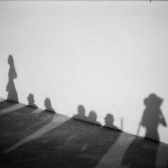 les ombres (asketoner) Tags: camera sunset people woman hat wall shadows dress side line santorini persons damaged imerovigli