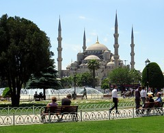 Istanbul (gerben more) Tags: park people fountain grass turkey minaret istanbul mosque parc