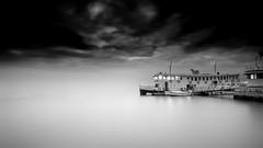Quiet waters (Joo Cruz Santos) Tags: longexposure blackandwhite bw portugal seixal baiadoseixal hoyandx400 sel16f28 nex5r
