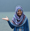 Girl in headdress (alderney boy) Tags: pattern purple tourist fabric pura danau headress beratan candikuning