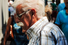Moustache (Alfred Grupstra Photography) Tags: blue people woman man shopping nikon walk streetphotography streetlife