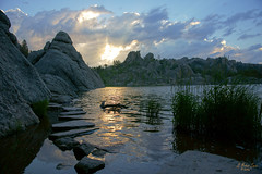 Stepping Stones Into the Dawn (G Michael Lewis) Tags: morning light sky usa lake mountains nature water clouds southdakota blackhills sunrise outdoors dawn rocks earth h2o boulders northamerica custerstatepark