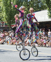 Vancouver Pride Parade 2014 - 0367 (gherringer) Tags: summer music canada vancouver fun happy bc pride parade balance colourful unicyclists vanpride west end rainbowonesie