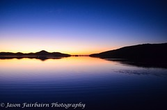 Sunset reflection (Jason Fairbairn Photography) Tags: blue sunset orange sun lake reflection nature water sunshine night landscape evening nikon natural dusk horizon nsw bodyofwater nikonphotography d5100 mynikonlife mytravelgram nswnorthcost