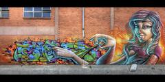 Sofles & Smug (J-C-M) Tags: street city urban panorama streetart art wall painting graffiti artwork alley nikon mural paint grafitti artistic australia melbourne wallart smug victoria panoramic spray inner alleyway lane preston suburb laneway d200 aerosol stitched collaboration sofles smugone