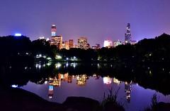 Central Park-The Lake, 07.11.14 (gigi_nyc) Tags: nyc newyorkcity summer reflections nightlights centralpark nightshots nycskyline thelake midtownmanhattan one57 432parkavenue 432park