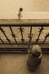 My Brother's Blur (Duncan Herring) Tags: boy baby sunlight holiday blur pool girl monochrome vintage interestingness interesting spain sitting balcony tiles villa runner javea duncanherring