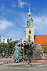 Germany-00056 - Neptune Fountain with St May's Church (archer10 (Dennis) 83M Views) Tags: germany berlin building sony a6300 ilce6300 18200mm 1650mm mirrorless free freepicture archer10 dennis jarvis dennisgjarvis dennisjarvis iamcanadian novascotia canada stmarys church neptunesfountain globus tour