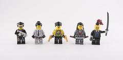Cyberpunk Yakuza (Hammerstein NWC) Tags: yakuza lego custom minifigs brickarms crazy arms vasteamworks crazybricks brickwarriors colt 1911 nunchuks katana knife smg goldengun