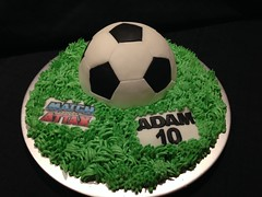 Football Birthday Cake (Cakes by Debs) Tags: cake birthday dome sponge buttercream grass green 10 ten black ball white attax match fondant football