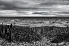 'Thoroughfare' (Canadapt) Tags: lakehuron fence grass beach sand clouds lake horizon gateway michigan usa canadapt