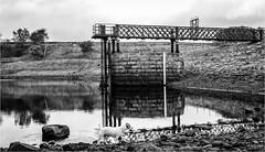 Hury Reservoir . (wayman2011) Tags: canon50d lightroom wayman2011 bwlandscapes mono reservoirs dogs jackrussels doris pennines dales baldersdale teesdale huryreservoir countydurham uk