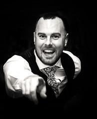 Happy Chappy (Tony Raine) Tags: blackwhite wedding b man pointing happy smiling