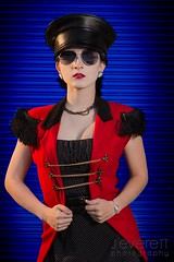 _MG_40 (J.everett Photography) Tags: alternativeportraits goth gothic lines sunglasses retro polkadotdress location industrial art photography fashion waistcincher