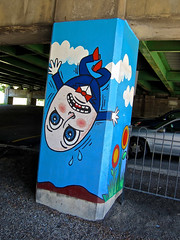 Street Art, Wheeling, WV (Robby Virus) Tags: wheeling westvirginia humpty dumpty fall wall street art pillar underpass overpass