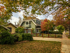 Autumn in San Jose (randyherring) Tags: ca california houses street leaves nature sanjose afternoon cars outdoor autumn fall trees clouds unitedstates us