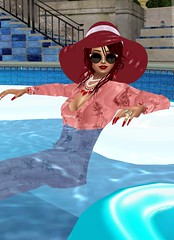 Portrait in Pink 3 (SoakinJo) Tags: imvu wetlook wetclothes soakinjo wetsuit clothed pool