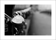 Love lock B&W (Descended from Ding the Devil) Tags: bw bakewell dof derbyshire beyondbokeh blackandwhite bokeh bridge depthoffield lovelock monochrome photoborder selectivefocus