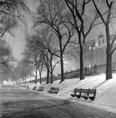 020459 10 (ndpa / s. lundeen, archivist) Tags: nick dewolf nickdewolf blackwhite photographbynickdewolf tlr bw 1959 1950s february winter boston massachusetts beaconhill night nighttime wintersnight park common bostoncommon tree branches snow snowy snowfall trees film 6x6 mediumformat monochrome blackandwhite light lights benches parkbenches beaconstreet path pathway buildings fence railing