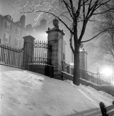 020459 12 (ndpa / s. lundeen, archivist) Tags: nick dewolf nickdewolf blackwhite photographbynickdewolf tlr bw 1959 1950s february winter boston massachusetts beaconhill night nighttime wintersnight park common bostoncommon tree branches snow snowy snowfall trees film 6x6 mediumformat monochrome blackandwhite light lights steps fence railing ironwork beaconstreet walnutstreet buildings chimneys