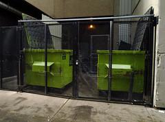 Green Boxes (geowelch) Tags: toronto downtown urbanfragments dumpster panasoniclumixgx1 panasoniclumixgvario1232mm3556