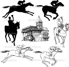 Silhouettes and graphic sketches of horses and jockeys, vintage style, graphic drawing hippodrome for design (jockeyclubdopiaui) Tags: racing riding horse silhouette jumping head art background classic decor decoration decorative design holiday layout nostalgia old pattern retro texture vector vintage animals action champion sport equestrian competition jockey run win equine drawing stallion western race motion graphic cartoon farm mare freedom nature sketch mustang ribbon set collection black racetrack hippodrome racecourse drowing draw