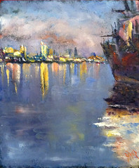 Waterway 15 (polusladkaia) Tags: originalart paintings copyright2016bvfbetker seattle cityscapes waterview pacificnorthwest oil resinboard