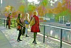 at the lock (dick_pountain) Tags: mashup likeapainting london camden lock lockgate railing girls flagstones trees colourized regentscanal