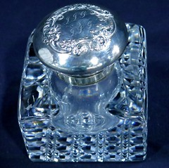 BOUTIQUE:  Cut glass ink well with Gorham sterling lid circa 1892.