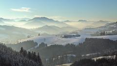 ... first snow ... (Erich Hochstöger) Tags: winter schnee snow landschaft landscape berge mountains wald forest haus building bauernhaus farm nebel fog mist alpenvorland alpen alps stleonhard stleonhardwald österreich austria staegidi sanktaegidi stägyd sanktägyd