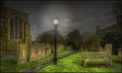 Lyddington Churchyard Lampost (Darwinsgift) Tags: lyddington churchyard lampost rutland rutlandshire hdr photomatix nikkor 24mm pce f35 ed d nikon d810 photoshop dusk light