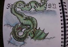 DSC02798 (bathena_97) Tags: sketch dessin art draw snake serpent dragon pencil green