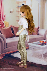 Golden leather corset outfit for MNF, slim MSD (AnnaZu) Tags: annaku annazu vesnushkahandmade sale bjd abjd corset leather minifee luka doll fairyland