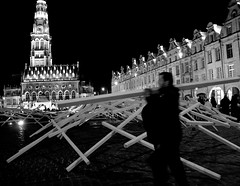 Just one more... (Jean-Luc Lopoldi) Tags: arras johannleguillerm place installation performance bois soir vieilleville artcontemporain bw noiretblanc beffroi