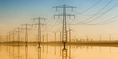 Markiezaatsmeer (Duevel) Tags: energy wires reflection water markiezaatsmeer molenplaat reflections spiegelingen reflecties energie kreekraksluizen perspectief perspective landscape industrial