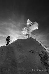 161184  Summit Cross at the Dachstein (bellodis) Tags: dariobellodisphotography crocedivetta mountainlandscapes summitcross 2016 alpi alps bw dachstein fujifilmgear fujixt2 ramsau verticalformat croce cross fujinon1024f4 ghiaccio ice montagna mountain neve people persone snow wwwbellodiscom