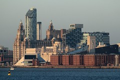 Liverpool Waterfront from New Ferry (Roy Lowry) Tags: liverpool liverbuildings cunardbuilding portofliverpoolbuilding threegraces